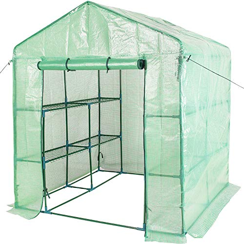 - Sundale Outdoor Gardening Large 2 Tier 8 Shelf Steeple Walk in Plant Green House with PE Cover, 56.5