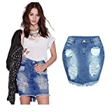 Challyhope Women Denim Hole Skirt Jeans High Waist Ripped Vintage Skinny Pencil Skirt (L, Blue)