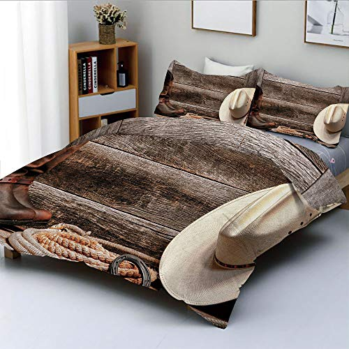 (Duplex Print Duvet Cover Set Full Size,Authentic American Rodeo Items Lasso Hat Boots Horseshoe Rustic Wooden House DecorativeDecorative 3 Piece Bedding Set with 2 Pillow Sham,Brown Cream Tan,Best)