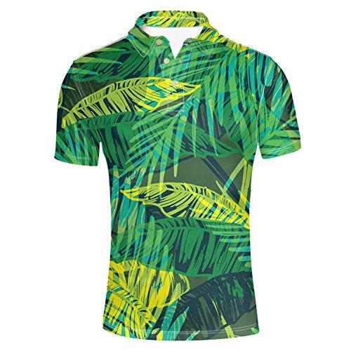 HUGS IDEA Funky Hawaiian Shirt Palm Leave Print Summer Short Sleevee Classic Golf Polos Tshirts for ()