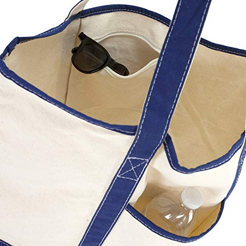 DALIX 22'' Extra Large Shopping Tote Bag w Outer Pocket in Navy Blue and Natural by DALIX (Image #6)