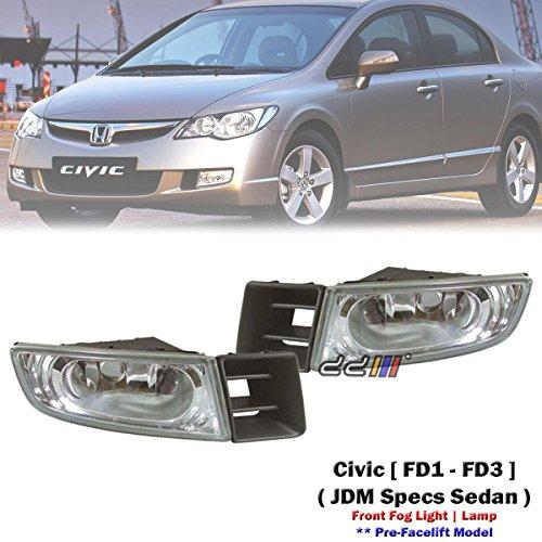 1 Pair Replacement Front Bumper Fog Light Lamp For Honda Civic FD1 FD2 2006-08 ()