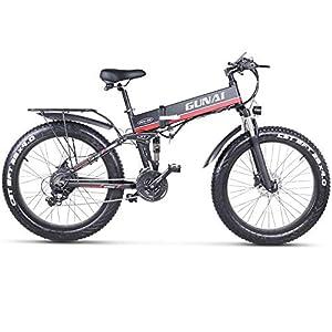 51wFFUjkYYL. SS300 GUNAI Mountain Bike Elettrica, Bici elettrica 1000W Bici Montagna Ebike 21 velocità 26 'Full Suspension 48V12AH Pedali…