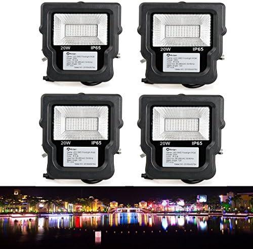 4x Anten® 20W LED Fluter, LED Flutlicht, ersetzt 200W Halogenlampe, 48XSMD2835, wasserdicht IP65, nicht dimmbar, RGB LED Außenleuchten, LED Flutlichtstrahler, LED Strahler, LED Scheinwerfer