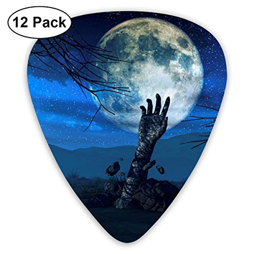 Halloween Background Zombie Hand Small Medium Large 0.46 0.73 0.96mm Mini Flex Assortment Plastic Top Classic Rock Electric Acoustic Guitar Pick Accessories Variety Pack ()