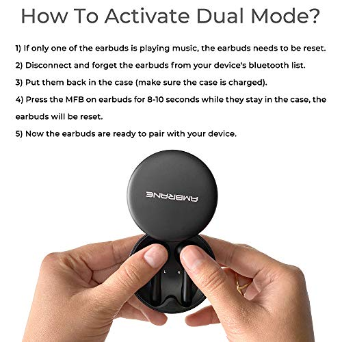 Ambrane BeatsDuo True Wireless Stereo Earphones with High Bass HD Sound, Dual Mic for Calls, 25 hrs Playtime with Case, Water Splash Proof & Siri/Google Assistant (Black)