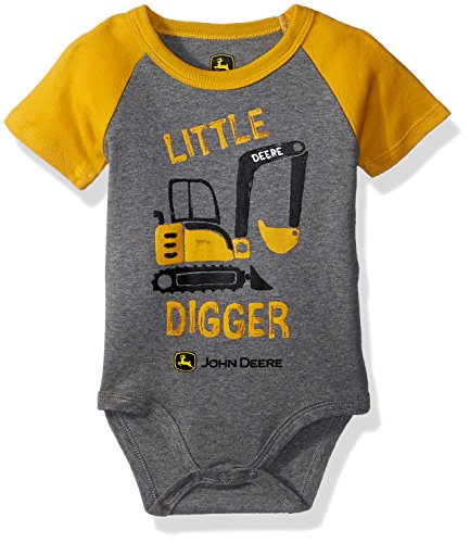John Deere Baby Boys Bodysuit, Construction Yellow/Heather Grey, 9-12 Months