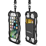 2 in 1 Cell Phone Lanyard Strap Case, Universal Smartphone Neck Laniard Shockproof Cover with ID Card Holder Necklace Tether for iPhone X 8 7 6 6S Plus 5 SE iPod Touch Samsung Galaxy S8 S7 S6 Edge LG (Black)