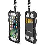 2 in 1 Cell Phone Lanyard Neck Strap Case Universal Smartphone Necklace Shockproof Cover with ID Card Slot Holder for iPhone X 8 7 6 6S 5 SE iPod Touch Samsung Galaxy S8 S7 S6 Edge Other Mobile Phones