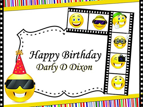 Custom Emoji Movie 7 Year Old Birthday Poster for Kids - Size 24x36, 48x24, 48x36; Personalized Happy Birthday Banner Wall Decor With Movie Emojis; Handmade Party Supplies Poster - Chart Sunglasses For Size