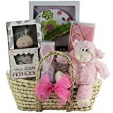 Baby Gift Sets Beautiful Baby Girl Gift Basket in a Natural Woven Decorative Moses Basket with Handles