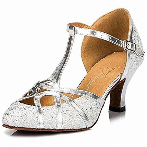 Baile Onecolor Verano Cuero de de de Plata Zapatos Zapatos Samba Jazz de de Baile de de Adultos Correas Baile Zapatos Sandalias Tobillo Latino BYLE Modern T7wSqp4Fwx
