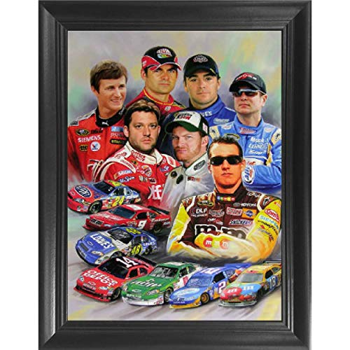 Nascar Racing Stars 3D Poster Wall Art Decor Framed Print | 14.5x18.5 | Lenticular Posters & Pictures | Memorabilia Gifts for Guys & Girls Bedroom | Kyle Busch, Dale Earnhardt Jr, Jeff Gordon Picture