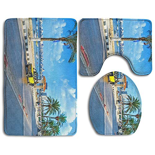 FunnyToiletLidCoverBB Alexandria Egypt October The Numerous Black Yellow Taxi Cars are and Comfortable White Non Slip Rug Pedestal Rug + Lid Toilet Cover + Bath Mat Customized Artwork Print