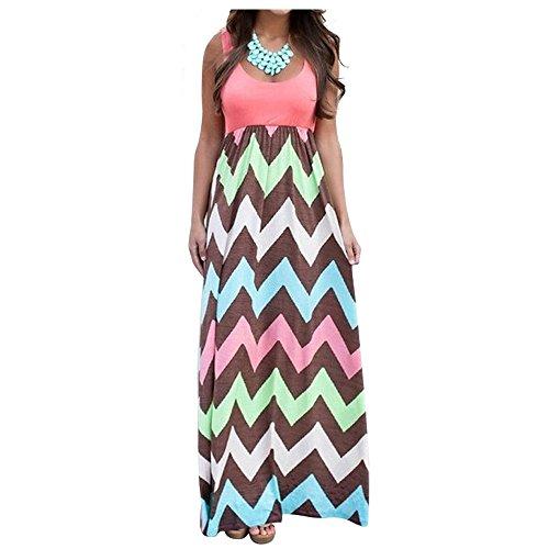 Aifer Womens Striped Zig Zag Chevron Print Sleeveless Tank Top Beach Long Maxi Dress, Bright Pink, Medium