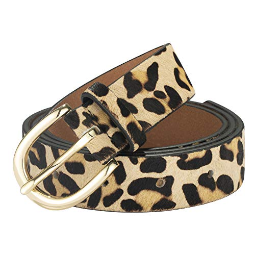 Leopard Print Women's leather Belt Cheetah Beige Waistband with Gold buckle for jeans/Casual pants (Cheetah Print, S:(30''-36''))