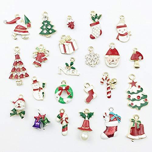 (Pendant Drop Ornaments - 23 Pcs Colorful Shinning Christmas Pendant Charms Sock Snowflake Santa Claus Tree Shape Ornaments - Shape Food Grade Mold Man Mold Shape 3d Mold Pig Usb Mould Ging)