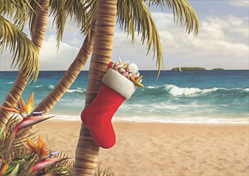 18 christmas cards and envelopes stocking with starfish and shells on palm tree - Palm Tree Christmas