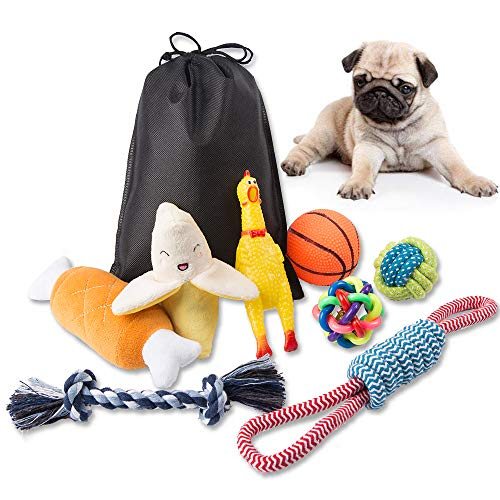 Big Bigger Dog Toy Set Indoor or Outdoor Pure Natural Cotton Rope chew Toy Squeak Toys Dog Ball Plush Dog Toy Screaming Chicken, Beautiful and Durable, Suitable for Small and Medium Dogs (8 Piece) (5 New Latex Looks)