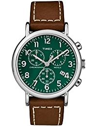 Men's TW2T29100 Weekender Chrono Brown/Green Two-Piece Leather Strap Watch