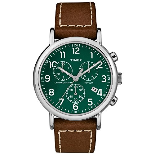 (Timex Men's TW2T29100 Weekender Chrono Brown/Green Two-Piece Leather Strap Watch)