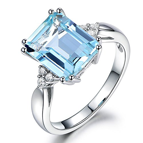lEIsr00y Engagement Wedding Jewelry Luxury Square Artificial Topaz Women Finger Ring Gift - US 10 Square Artificial Topaz Eye-catching