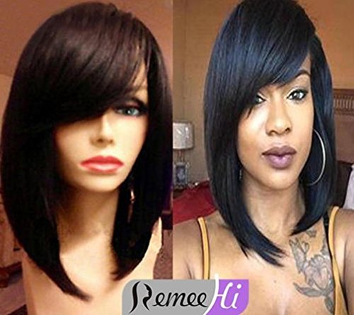 Remeehi 12 Inch 100% Remy Human Hair Short Straight Bob Lace Front Full Lace Wigs with Bangs (Lace Lace Front wig 1b#30)