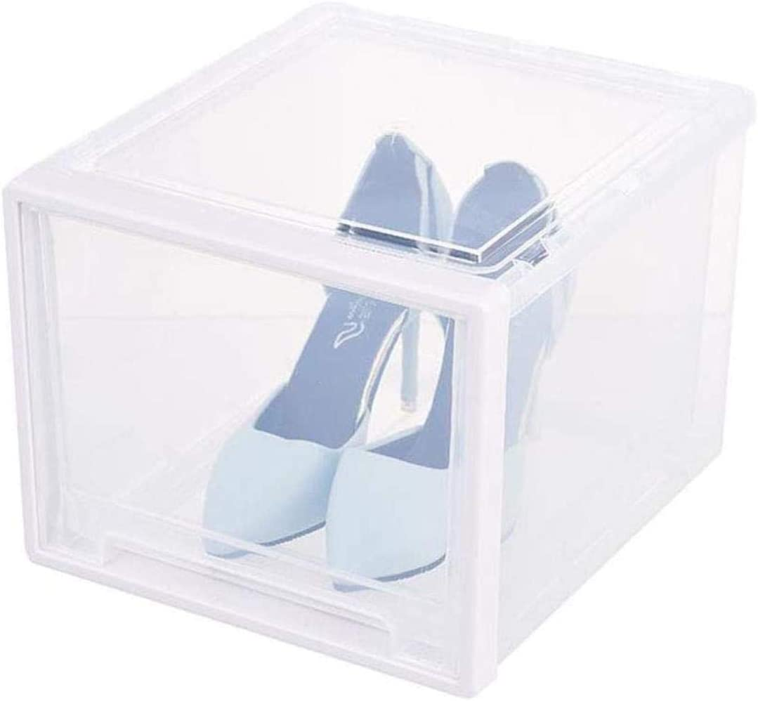Pared pintura La Caja de Zapatos apilable de Almacenamiento en Rack Organizador plástico Transparente Estanterías a Prueba de Polvo del cajón Que entrelaza Ligera Zapatero Taburete Cambiar Zapatos