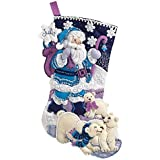 Bucilla Arctic Santa Felt Applique Stocking Kit, 86653 18-Inch