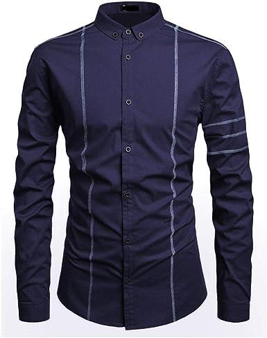 SLYZ Hombres Otoño Top-Stitch Decoración Solapa Camisa De ...