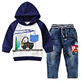 Baby Love Toddler Boys Clothes Outfit Truck Applique Hoodie Denim Jeans 2PCS Set(5T,Grey/Navy)