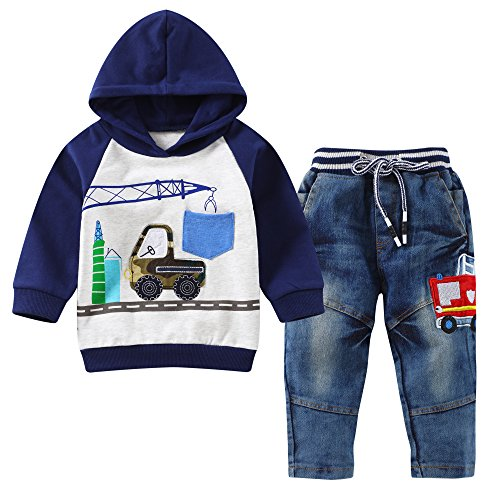 ys Clothes Outfit Truck Applique Hoodie Denim Jeans 2PCS Set(2T,Grey/Navy) (Child Outfit)