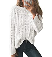 Dokotoo Womens Sweaters Long Sleeve Oversized Crew Neck Solid Color Knit Pullover Sweater Tops