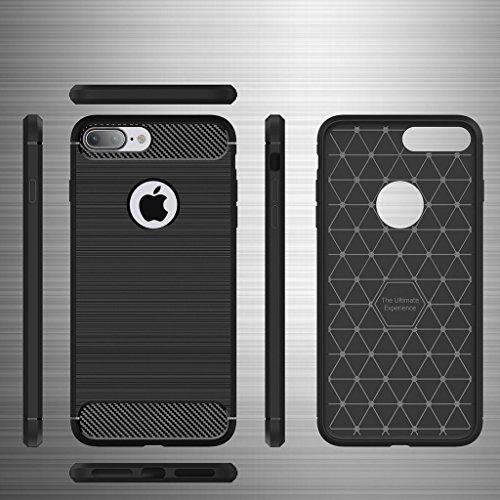 iPhone 7 Plus Custodia Verde ,JIENI Lusso in Fibra di Carbonio Cover TPU Silikon Case Custodia Shock-Absorption Bumper e Anti-Scratch Back per Apple iPhone 7 Plus
