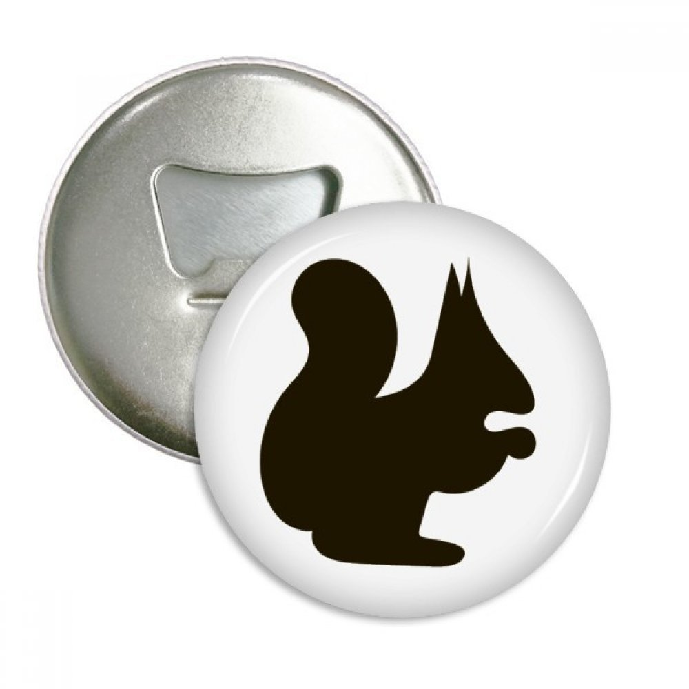 Black Squirrel Animal Portrayal Round Bottle Opener Refrigerator Magnet Badge Button 3pcs Gift