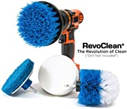 RevoClean 4 Piece Scrub Brush Power Drill Attachments-All Purpose Time Saving Kit-Perfect for Cleaning Grout,