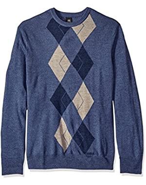 Men's Big and Tall Long Sleeve Soft Acrylic Multi Color Placement Argyle W/ Raker-Crew