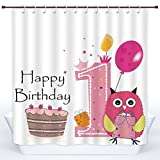 Hot Pink and Brown Shower Curtain Stylish Shower Curtain,1st Birthday Decorations,First Birthday Cake Candle Sketchy Cartoon Owl Image,Brown Hot Pink and Pink,Polyester Shower Curtains Bathroom Decor Set with Hooks