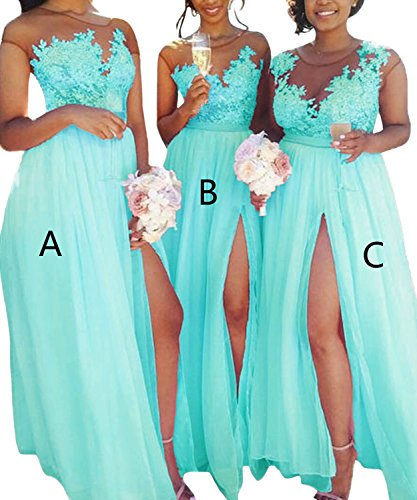 A-line Illusion (Yilis Women's Illusion Neck A Line Chiffon Beach Bridesmaid Dress Lace Prom Dress Turquoise US12)