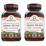 Nutrigold Vitamin D3 Gold (in Organic Olive Oil), 2000 IU, 360 softgels (Pack of 2)