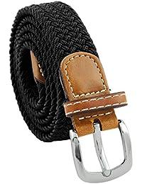 "Braided Belt for Women,PU Leather Stretch 1"" Width Woven Web Belts"