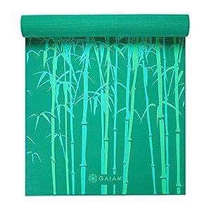 Gaiam Yoga Mat Classic Print Non Slip Exercise & Fitness Mat for All Types of Yoga, Pilates & Floor Exercises, Green Bamboo, 3/4mm