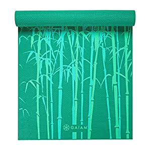 Gaiam Yoga Mat Classic Print Non Slip Exercise & Fitness Mat for All Types of Yoga, Pilates & Floor Exercises, Green Bamboo, 3/4mm