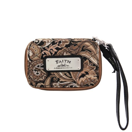 Brown Quilted Paisley All-in-One Wristlet w/