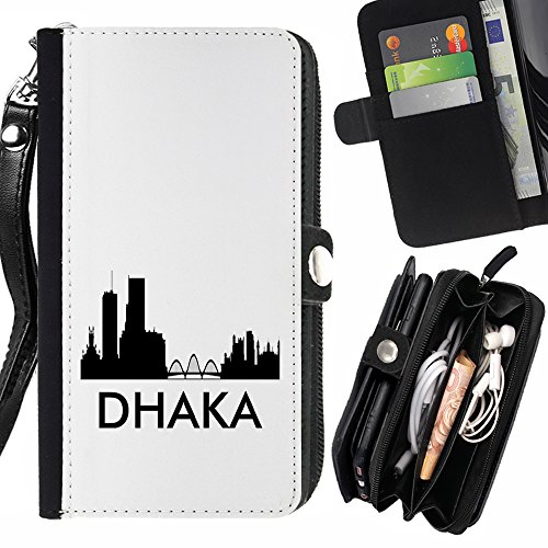 STPlus Dhaka, Bangladesh City Skyline Silhouette Postcard Wallet Card Holder with Strap and Zipper Cover Case for Huawei P9