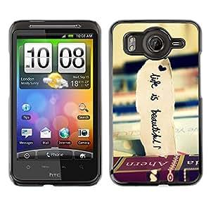 Qstar Arte & diseño plástico duro Fundas Cover Cubre Hard Case Cover para HTC Desire HD / G10 / inspire 4G( Books Travel Beautiful Life Vignette)