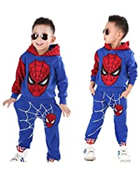 Nine Minow Boys Spider-Man Pullover Hoodies+Pants 2Pcs Kids Clothes