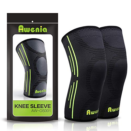 Awenia Knee Braces Support Compression Sleeves 1 Pair for Running Arthritis ACL Meniscus Tear Joint Pain Relief and Injury Recovery Basketball and More Sports (FDA Approved)