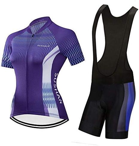 夏の女性のサイクリングスポーツ屋外速乾性衣類ショートスーツ