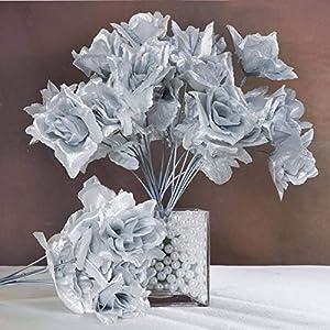 Efavormart 84 Artificial Open Roses for DIY Wedding Bouquets Centerpieces Arrangements Party Home Wholesale Supplies - Silver 5